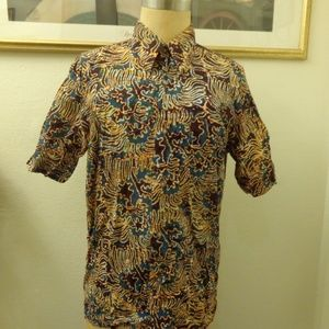 Vintage Psychedelic Print Short Sleeve Shirt